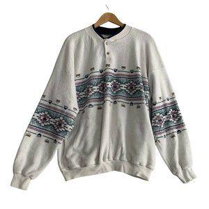 Vintage Art Unlimited Sportswear Pullover Henley Sweater Size XL Aztec Southwest
